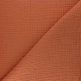 Tissu triple gaze de coton uni Sorbet - citrouille x 10cm