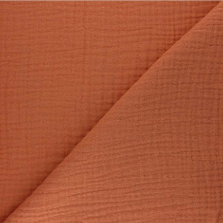Plain Triple gauze fabric - pumpkin Sorbet x 10cm
