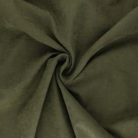 Tissu Doublure aspect suédine Alphée - vert olive x 10cm