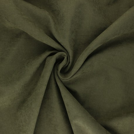 Suede-like lining fabric - olive green Alphée x 10cm