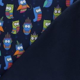 Tissu Softshell Happy Owl - bleu marine x 10cm