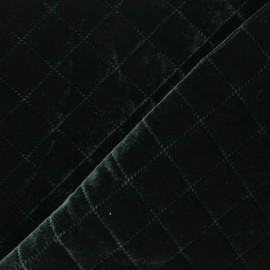 Tissu velours élasthanne matelassé Opéra - vert foncé x 10cm