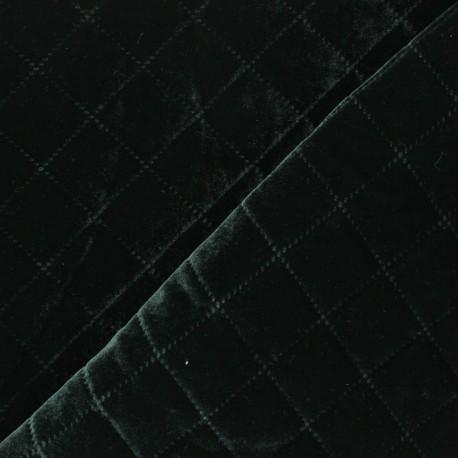 Quilted elastane velvet fabric - dark green Opéra x 10cm