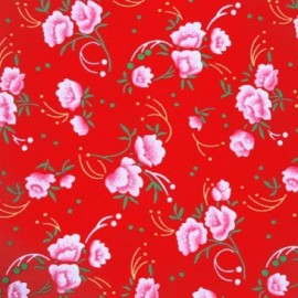 Pivoine Oeko-Tex cotton fabric - red x 10cm