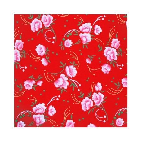 Tissu coton pivoine rouge