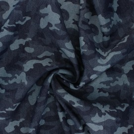 Fluid jeans fabric Camouflage - navy blue x 10cm