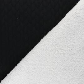 Tissu matelassé envers fourrure Ovalie - noir x 10cm