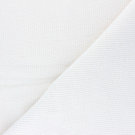 Washed-out ribbed velvet fabric - Ivory Cardiff x 10cm