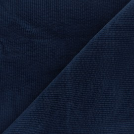 Washed-out ribbed velvet fabric - navy blue Cardiff x 10cm