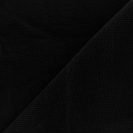 Washed-out ribbed velvet fabric - black Cardiff x 10cm