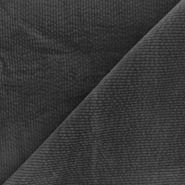Washed-out ribbed velvet fabric - anthracite Cardiff x 10cm