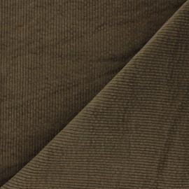 Washed-out ribbed velvet fabric - khaki green Cardiff x 10cm