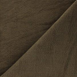 Washed ribbed velvet fabric - khaki green Cardiff x 10cm