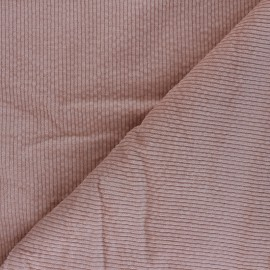 Washed ribbed velvet fabric - old pink Cardiff x 10cm