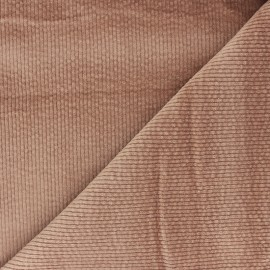 Washed-out ribbed velvet fabric - beige Cardiff x 10cm