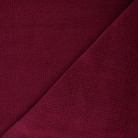 Washed-out ribbed velvet fabric - red Cardiff x 10cm