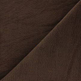 Washed-out ribbed velvet fabric - brown Cardiff x 10cm