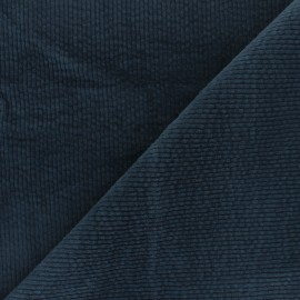 Washed-out ribbed velvet fabric - denim blue Cardiff x 10cm