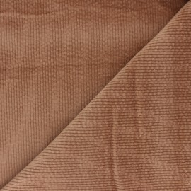 Washed-out ribbed velvet fabric - camel Cardiff x 10cm