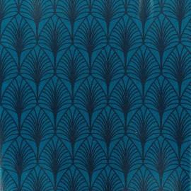 Tissu coton crétonne enduit Leaf - bleu marine x 10cm