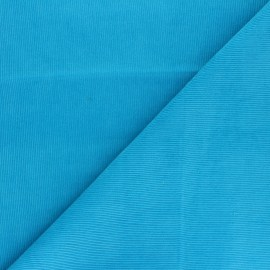 Washed-out milleraies velvet fabric - turquoise blue Infinité x 10cm