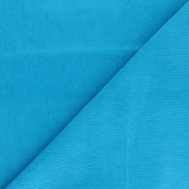 Washed milleraies velvet fabric - turquoise blue Infinité x 10cm