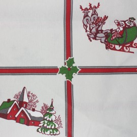 Tissu polycoton enduit mat Christmas time - écru x 65cm