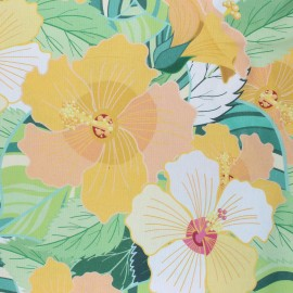 Coated Cotton fabric - yellow Florie x 10cm