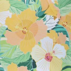 Tissu coton enduit Florie - jaune x 10cm