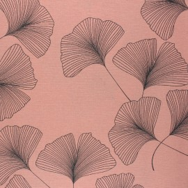 Matte coated Polycotton fabric - pink Ginko x 10cm