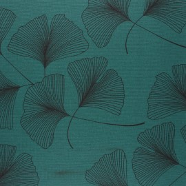 Matte coated Polycotton fabric - peacock green Ginko x 10cm
