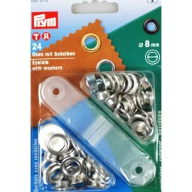 24 eyelets with washers 8mm + tool - silver