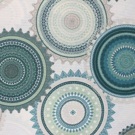 Tissu polycoton enduit mat Mandala - écru x 10cm