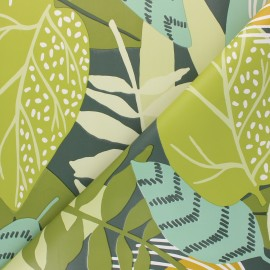 Oilcloth fabric - green Welcome to the jungle x 10cm