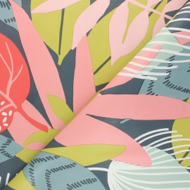 Oilcloth fabric - pink Welcome to the jungle x 10cm
