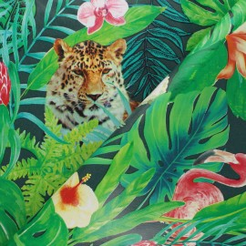 Oilcloth fabric - green Savage jungle x 10cm