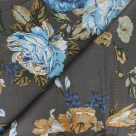 Spandex Viscose milleraies velvet fabric - anthracite Agathe x 10cm