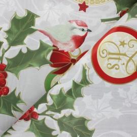 Tissu toile cirée Santa's bird - gris x 10cm