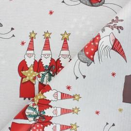 Tissu toile cirée Santa's team - gris x 10cm