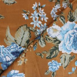 Viscose milleraies velvet fabric - ochre Agathe x 10cm