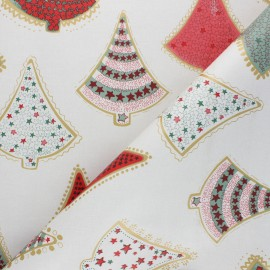 Oilcloth fabric - beige Christmas Trees x 10cm
