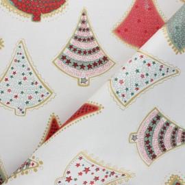 Tissu toile cirée Christmas Trees - beige x 10cm