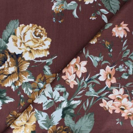 Tissu velours milleraies viscose Agathe - marron x 10cm
