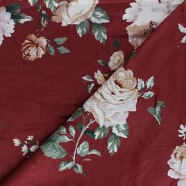 Viscose milleraies velvet fabric - red Agathe x 10cm