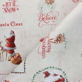 Tissu toile cirée Merry Christmas - beige x 10cm