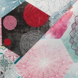 Tissu toile cirée Bohème - bleu x 20cm