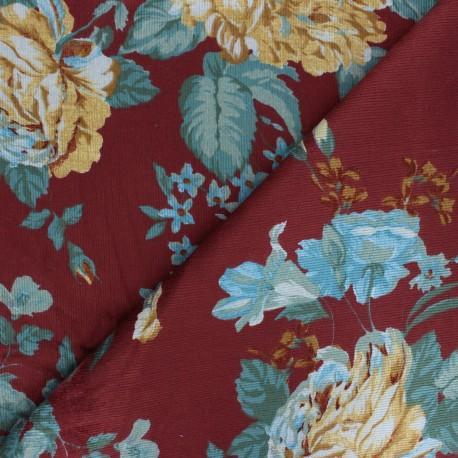 Tissu velours milleraies viscose Victoire - bordeaux x 10cm