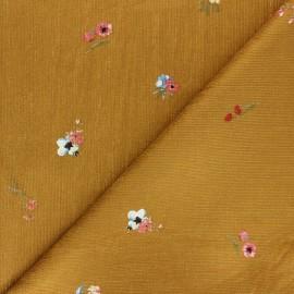 Viscose milleraies velvet fabric - ochre Floranne x 10cm