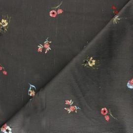Viscose milleraies velvet fabric - anthracite Floranne x 10cm
