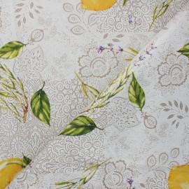 Oilcloth fabric - cream Lemon x 10cm